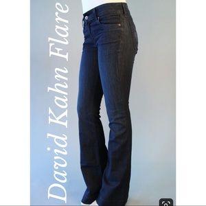 Designer David Kahn Dark Indigo Flare Leg Jeans 30
